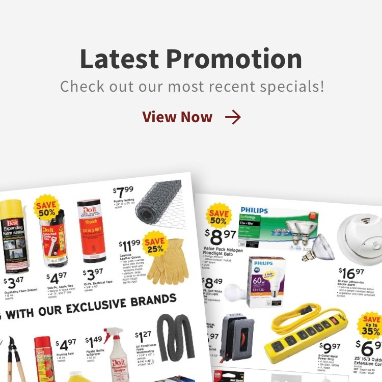 Latest promotions callout with circular photos with check out our most recent specials with view now link