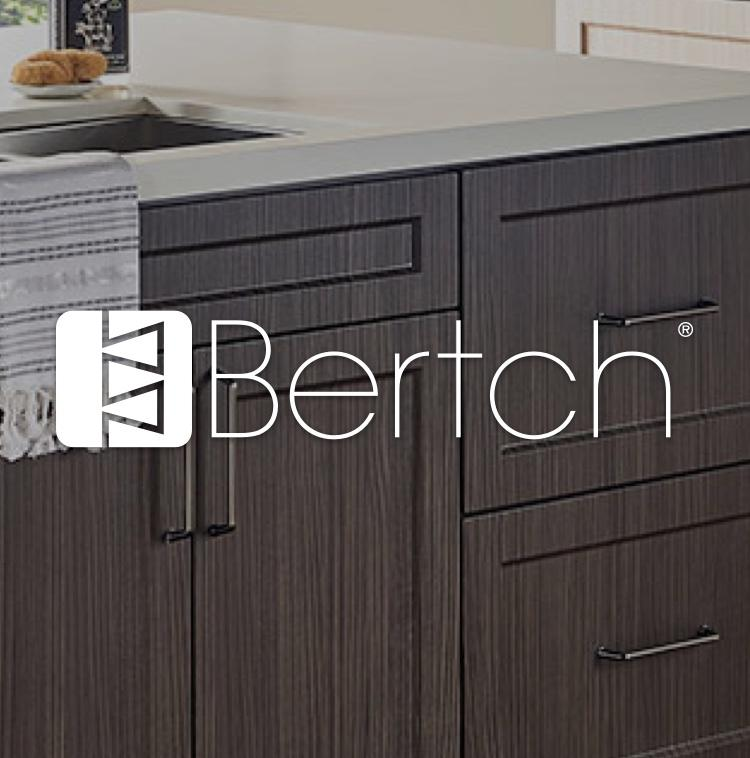 Bertch cabinets in modern kitchen with logo