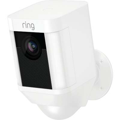 Ring Wireless Indoor/Outdoor White Security Camera with Spotlight