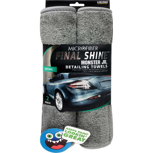 Viking Final Shine Monster Jr. 12 In. x 16 In. Gray Detailing Towel (2-Pack)
