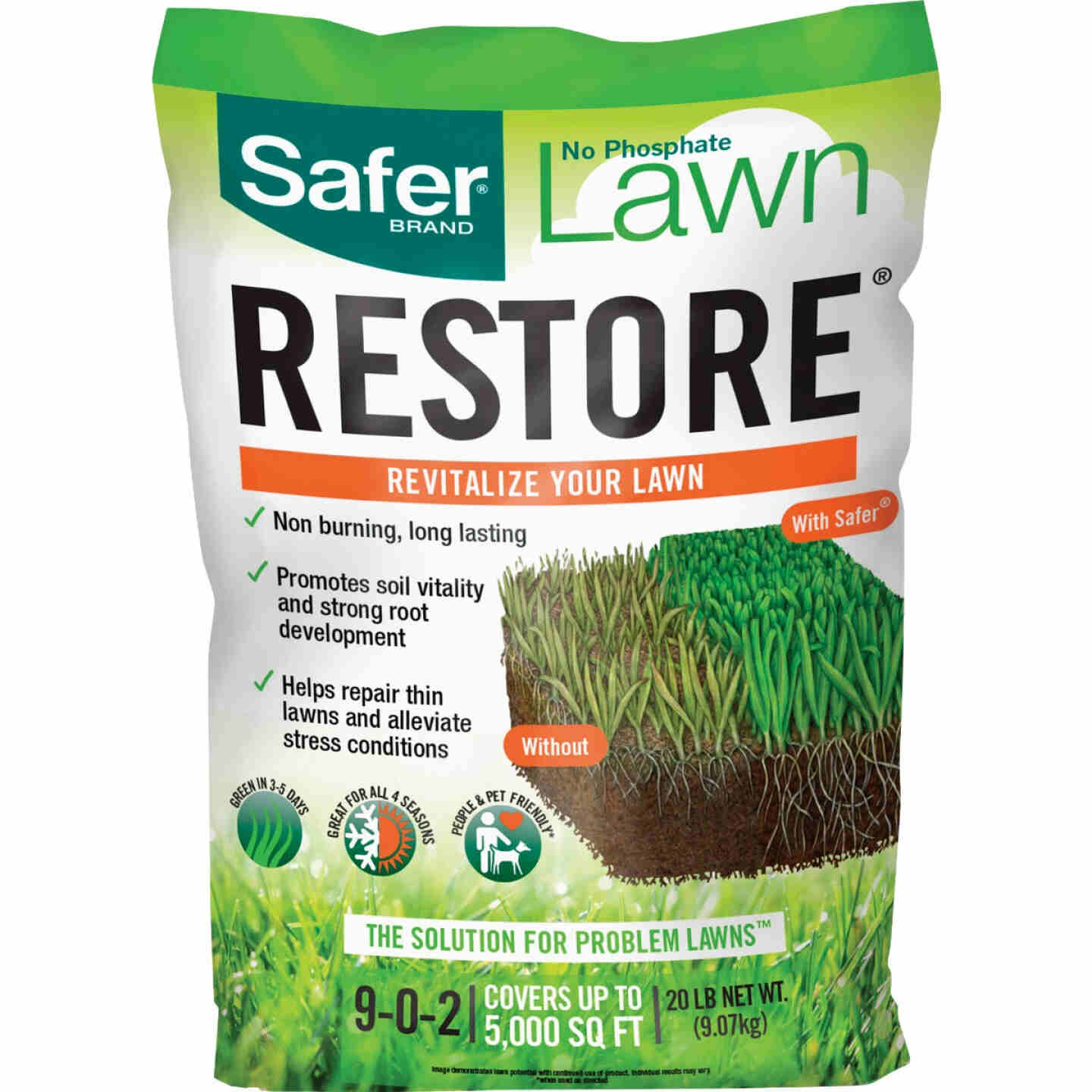 Safer Lawn Restore 20 Lb. 5000 Sq. Ft. 9-0-2 Lawn Fertilizer Image 1