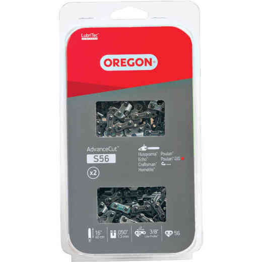 Oregon AdvanceCut LubriTec S56T 16 In. 3/8 In. Low Profile 56 Link Chainsaw Chain (2-Pack)