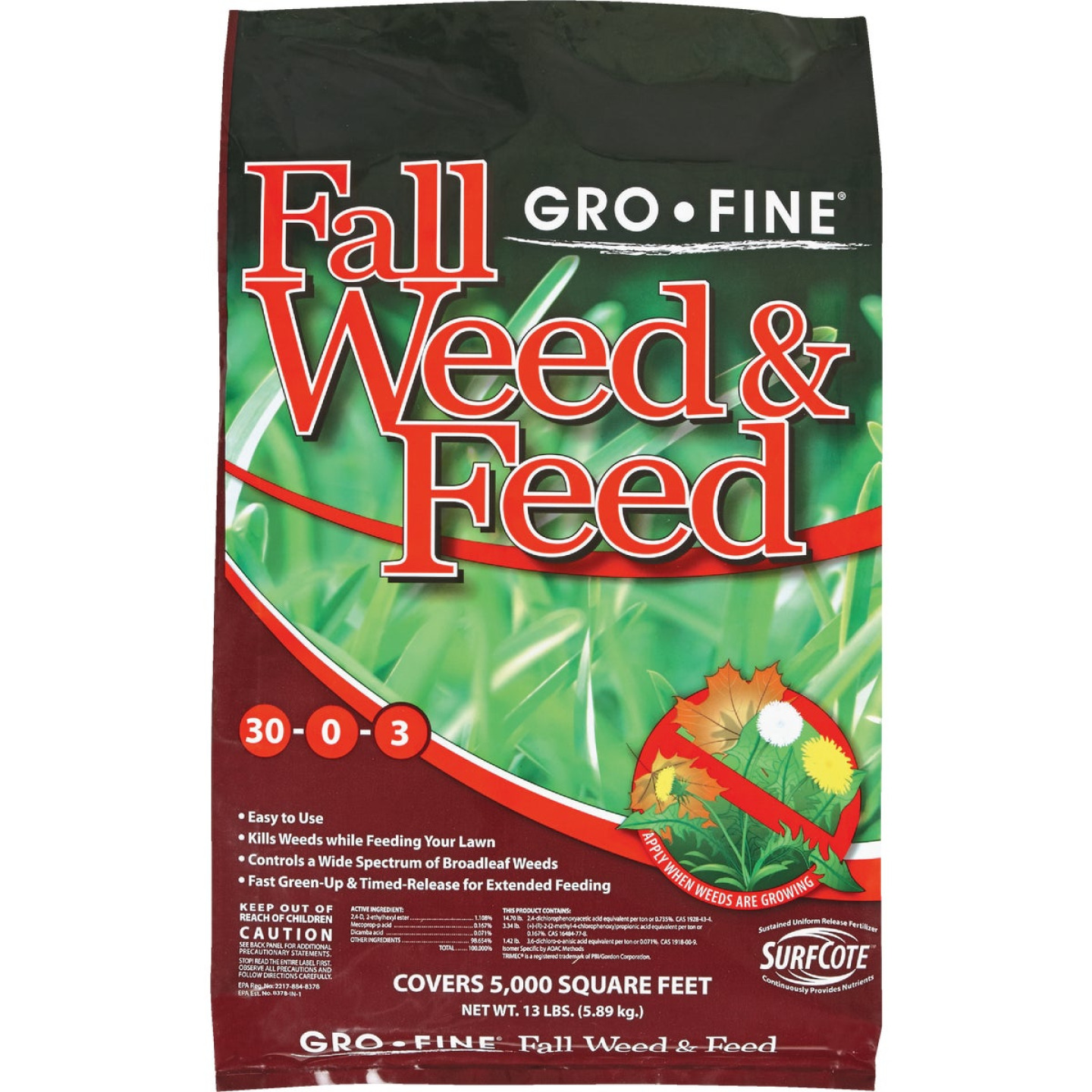 Gro-Fine 13 Lb. 5000 Sq. Ft. 28-0-6 Winterizer Fall Weed & Feed Fertilizer Image 1