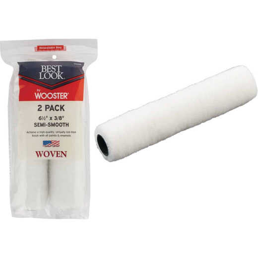 Best Look By Wooster 6-1/2 In. x 3/8 In. Mini Woven Fabric Roller Cover (2-Pack)