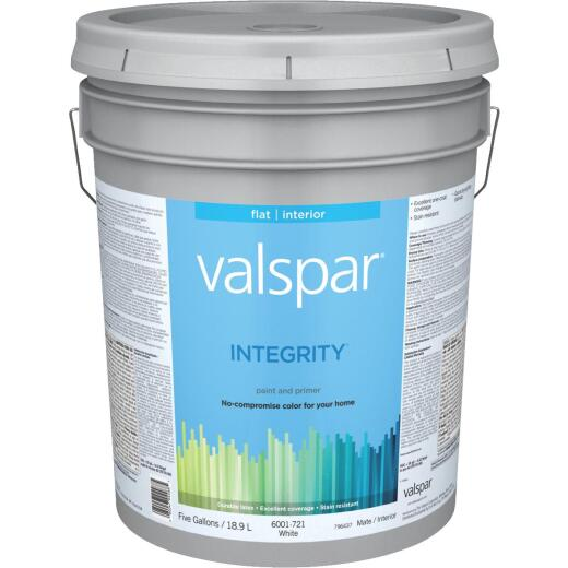 Valspar Integrity Latex Paint And Primer Flat Interior Wall Paint, White, 5 Gal.