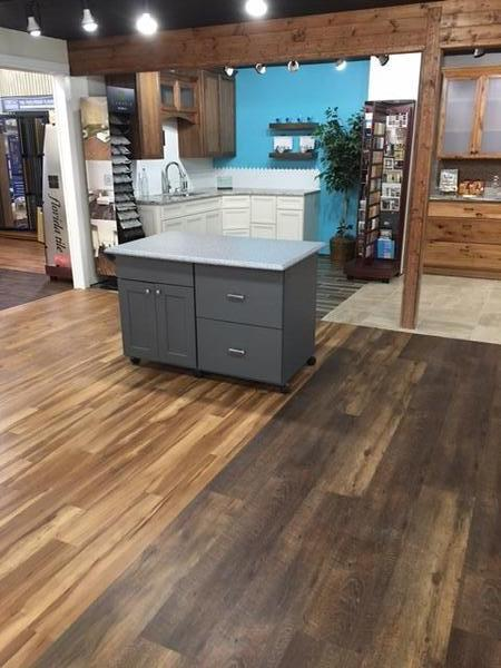 countertop on a wood floor
